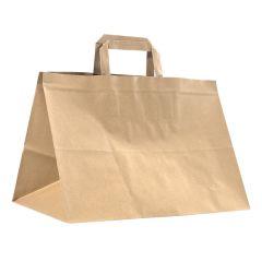 Take away bærepose med flade håndtag brun