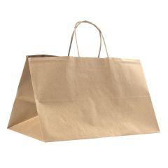 Take away bærepose med snoede håndtag brun