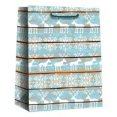 Papirsbærepose blue raindeer