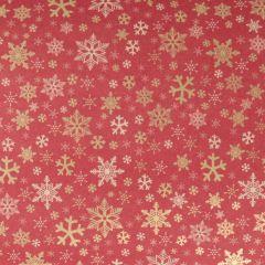 Gavepapir Red kraft golden stars