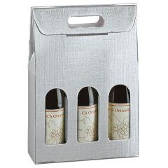 Gaveæske til flasker liniepræget sølv