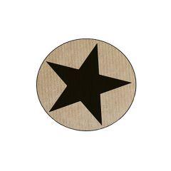 Etiket rund med stjerne mat sort/natur