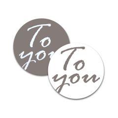 Etiket rund To You grå/hvid