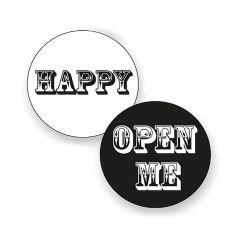Etiket rund sort/hvid blank Open me/happy