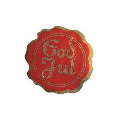 God jul etiket segl rød / guld