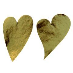 Etiket hjerte skråt guld