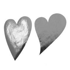 Etiket hjerte skråt sølv