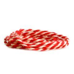 Tekstilsnor 2-farvet rød/hvid