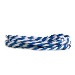 Tekstilsnor 2-farvet blå/hvid