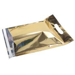 Guld metallic e-handelspose med håndtag.