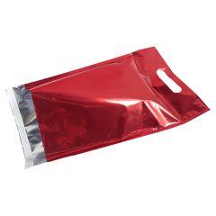 Rød metallic e-handelspose med håndtag